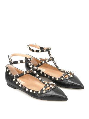 Valentino Garavani: flat shoes online - Rockstud ankle straps leather flats