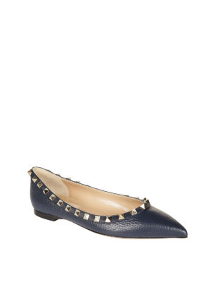 Valentino Garavani: flat shoes online - Rockstud blue leather flats