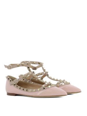 Valentino Garavani: flat shoes online - Rockstud pink patent leather flats