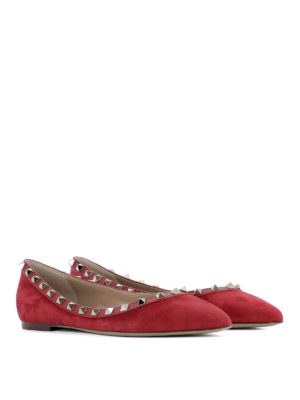 Valentino Garavani: flat shoes online - Rockstud suede and leather flats