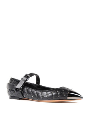 Valentino Garavani: flat shoes online - Studded quilted leather flats