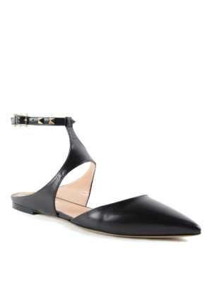Valentino Garavani: flat shoes online - Studded slingback flats