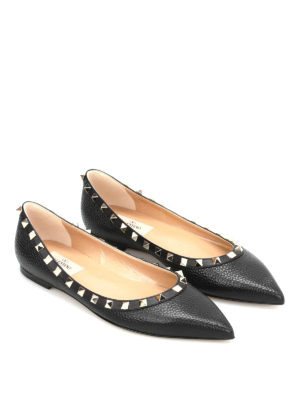 Valentino Garavani: flat shoes online - Studded trims leather pointy flats