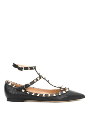 Valentino Garavani: flat shoes - Rockstud ankle straps leather flats