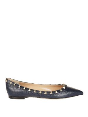Valentino Garavani: flat shoes - Rockstud blue leather flats