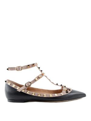 Valentino Garavani: flat shoes - Rockstud leather flats