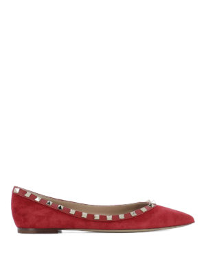 Valentino Garavani: flat shoes - Rockstud suede and leather flats