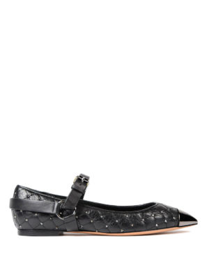 Valentino Garavani: flat shoes - Studded quilted leather flats
