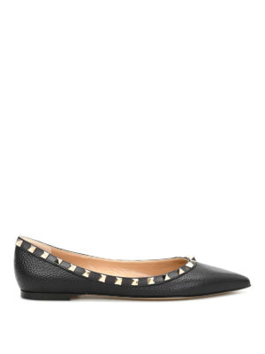 Valentino Garavani: flat shoes - Studded trims leather pointy flats