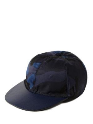 VALENTINO GARAVANI: cappelli - Cappellino blu in canvas e pelle