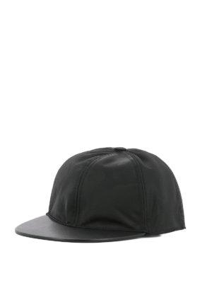 VALENTINO GARAVANI: cappelli - Cappellino in nylon camouflage e pelle