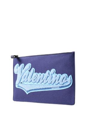 VALENTINO GARAVANI: pochette online - Busta in canvas blu logo in spugna