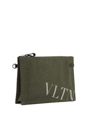 VALENTINO GARAVANI: pochette online - Pochette VLTN in canvas verde