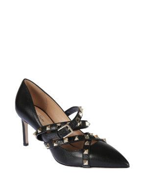 VALENTINO GARAVANI: scarpe décolleté online - Décolleté Studwrap in pelle nera