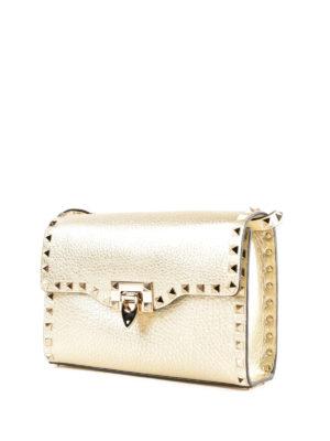 VALENTINO GARAVANI: borse a tracolla online - Tracolla piccola Rockstud in pelle oro