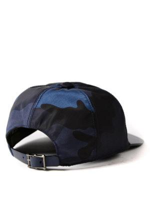 VALENTINO GARAVANI: cappelli online - Cappellino blu in canvas e pelle