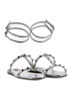 VALENTINO GARAVANI: sandali online - Sandali piatti in pelle laminata