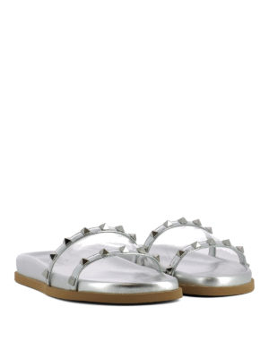 VALENTINO GARAVANI: sandali online - Ciabattine in pelle con borchie