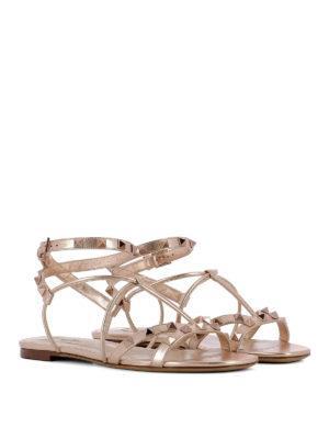 VALENTINO GARAVANI: sandali online - Sandali in pelle laminata e borchie