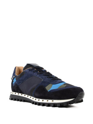 VALENTINO GARAVANI: sneakers online - Sneaker blu e nylon camouflage