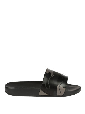 Valentino Garavani: sandals - Black camu rubber slide sandals