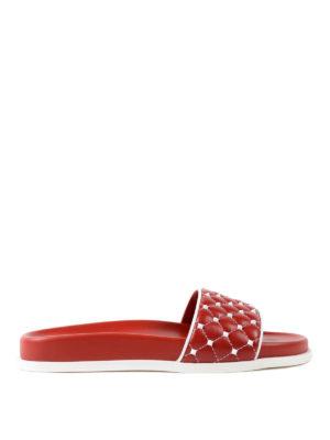 VALENTINO GARAVANI: sandali - Sandali Free Rockstud Spike rossi