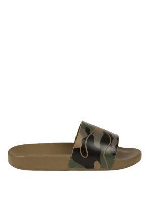 Valentino Garavani: sandals - Green camu rubber slide sandals
