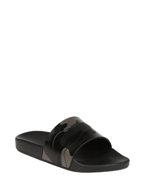 Valentino Garavani: sandals online - Black camu rubber slide sandals