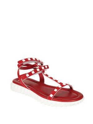 Valentino Garavani: sandals online - Free Rockstud red sandals