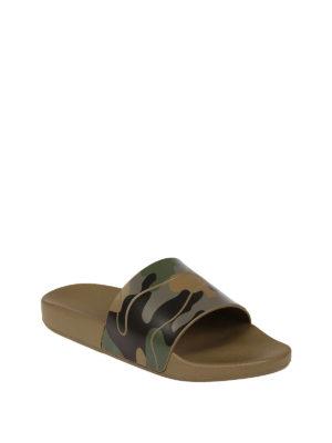 Valentino Garavani: sandals online - Green camu rubber slide sandals