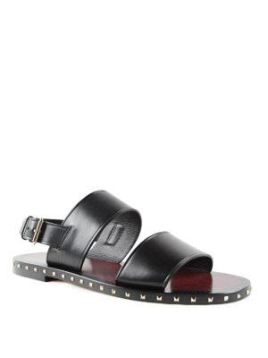 Valentino Garavani: sandals online - Rockstud double strap flat sandals
