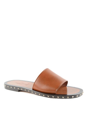 Valentino Garavani: sandals online - Rockstud leather slide sandals