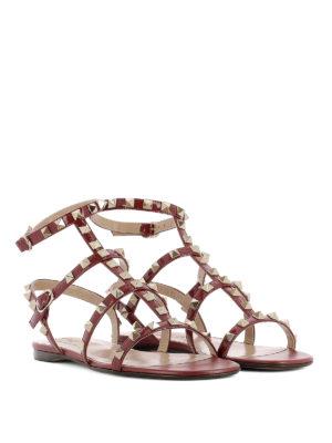 Valentino Garavani: sandals online - Rockstud red varnished flat sandals