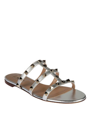 Valentino Garavani: sandals online - Rockstud T-straps leather sandals