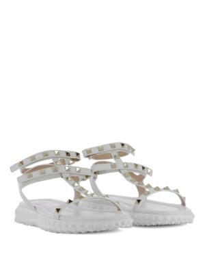 Valentino Garavani: sandals online - Rockstud T-straps wedge sandals