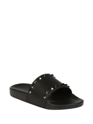 Valentino Garavani: sandals online - Studded rubber slide sandals