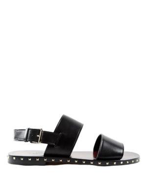 Valentino Garavani: sandals - Rockstud double strap flat sandals