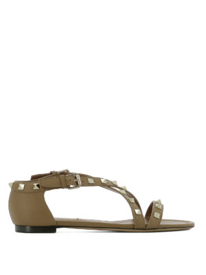 Valentino Garavani: sandals - Rockstud leather flat sandals