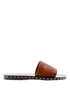 Valentino Garavani: sandals - Rockstud leather slide sandals