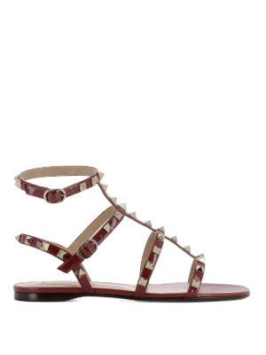 Valentino Garavani: sandals - Rockstud red varnished flat sandals