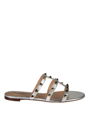 Valentino Garavani: sandals - Rockstud T-straps leather sandals