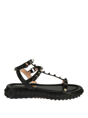 Valentino Garavani: sandals - Rockstud T-straps wedge sandals