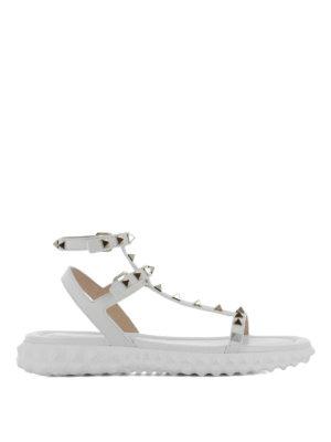 Valentino Garavani: sandals - Rockstud T-straps wedge sandals