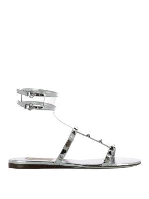 VALENTINO GARAVANI: sandali - Sandali piatti in pelle laminata