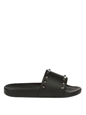 Valentino Garavani: sandals - Studded rubber slide sandals