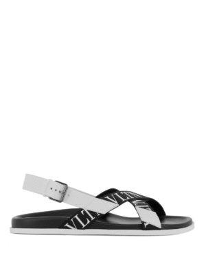 VALENTINO GARAVANI: sandali - Sandali VLTN in pelle e nastro logato