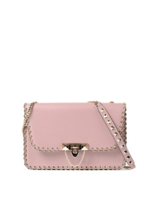 Valentino Garavani: shoulder bags - Small chains trimmed leather bag
