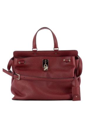 Valentino Garavani: totes bags - Leather bag with padlock