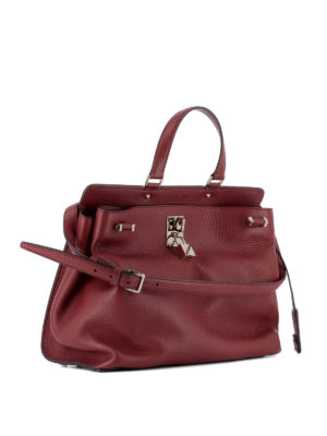 Valentino Garavani: totes bags online - Leather bag with padlock