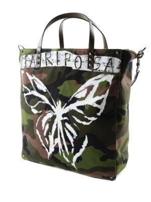 Valentino Garavani: totes bags online - Mariposa camu canvas tote